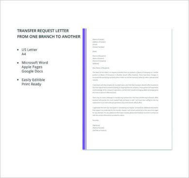 free job transfer to another branch request letter example1