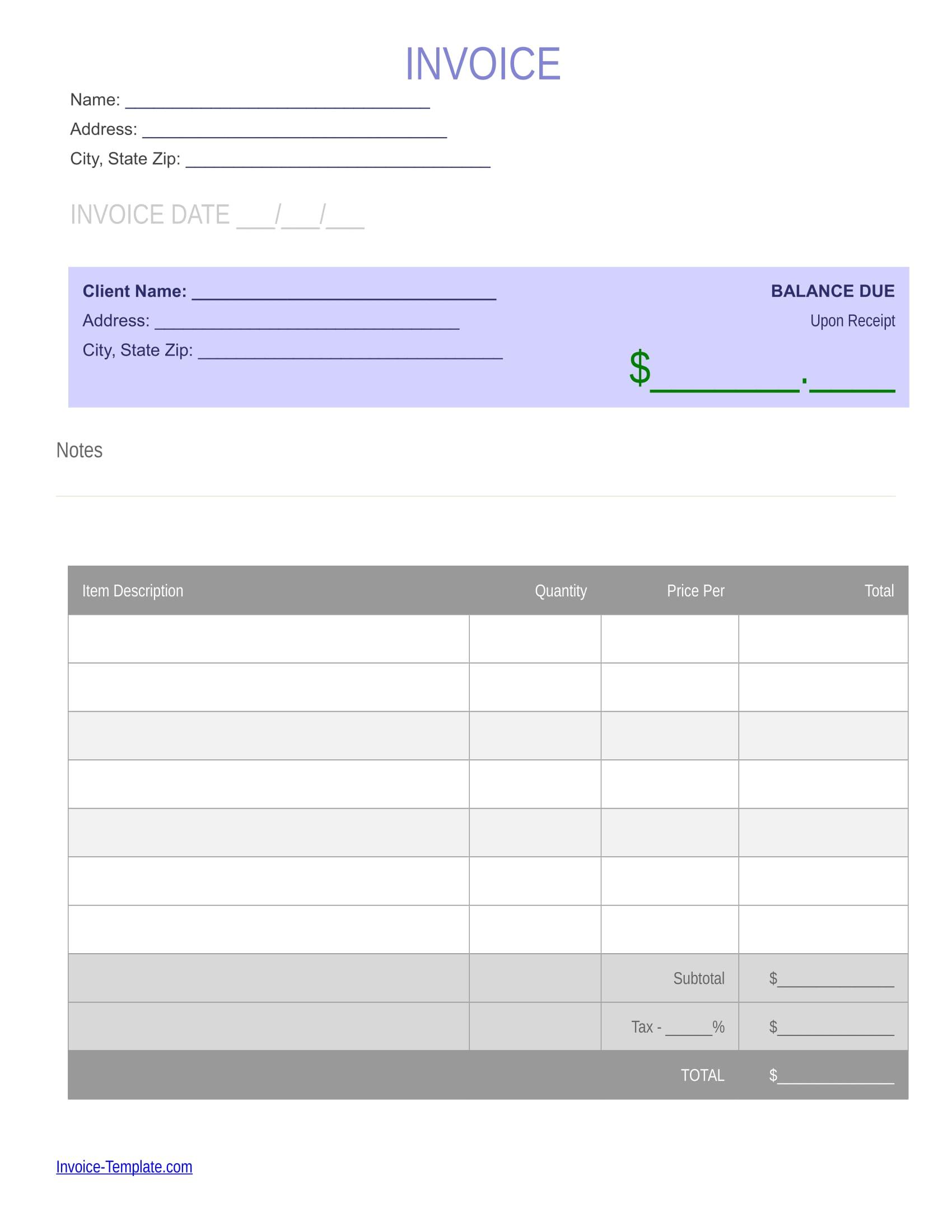 generic blank invoice example