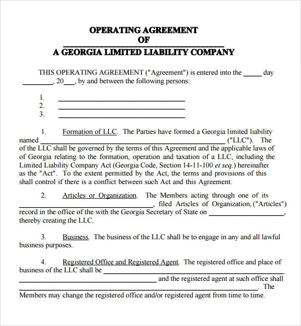georgia llc operating agreement example
