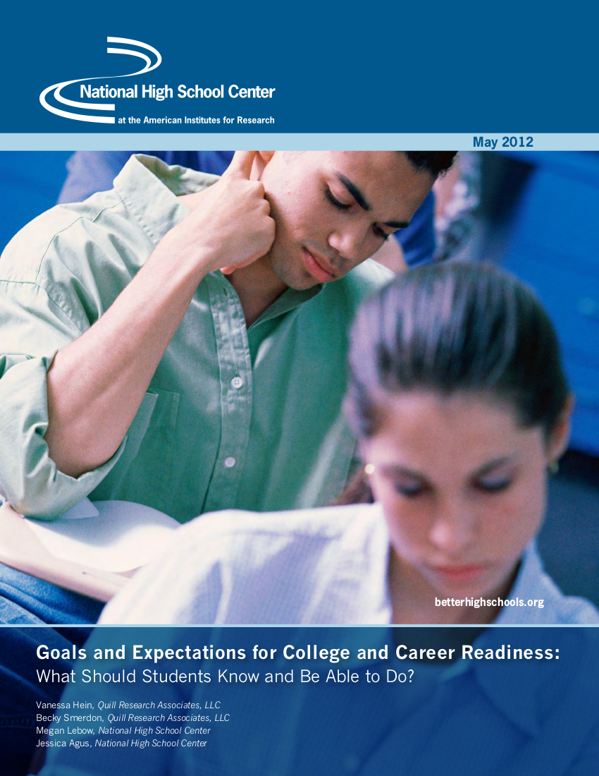 goals and expectations for college and career readiness