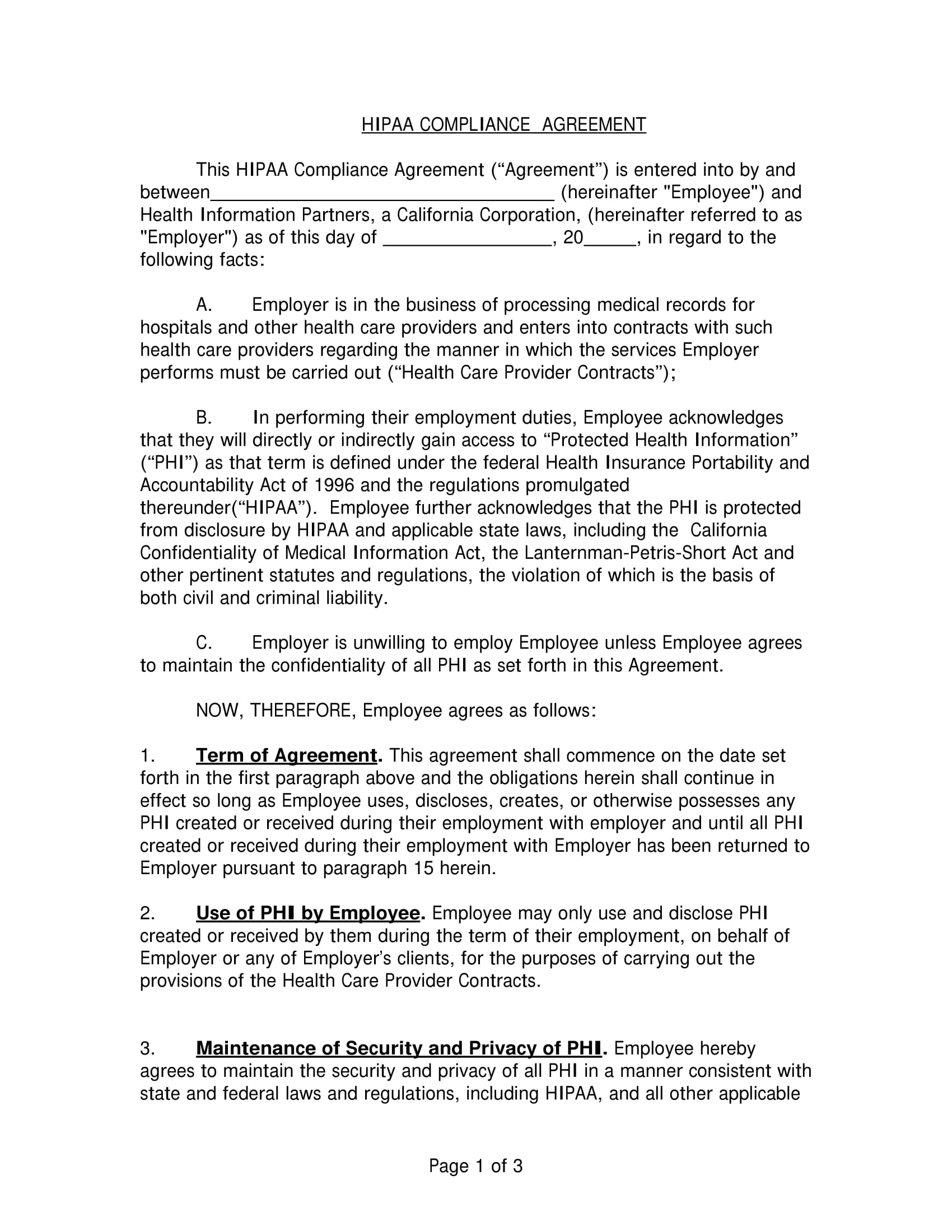 hipaa compliance agreement example 1