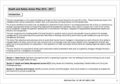 health and safety action plan example