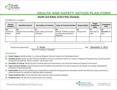health and safety action plan form example