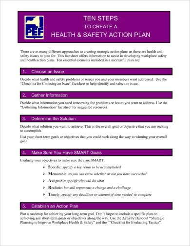health and safety action plan procedures example