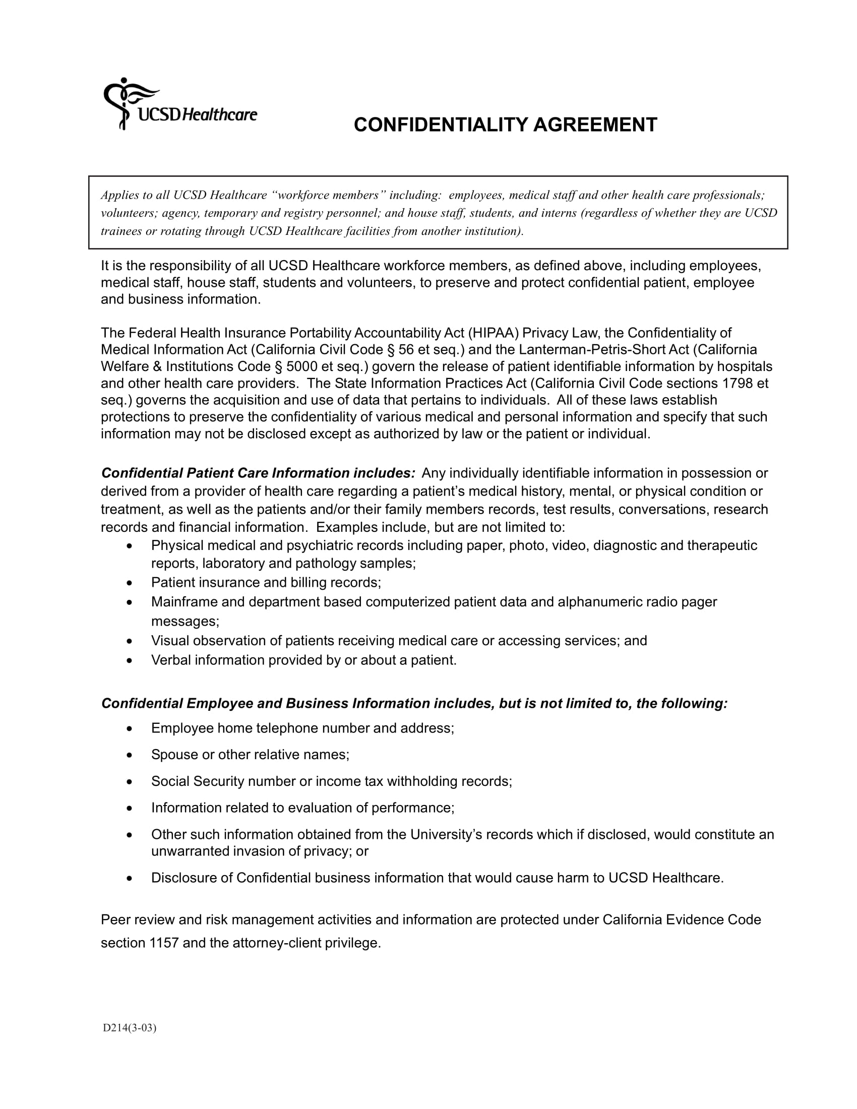 healthcare confidentiality agreement example