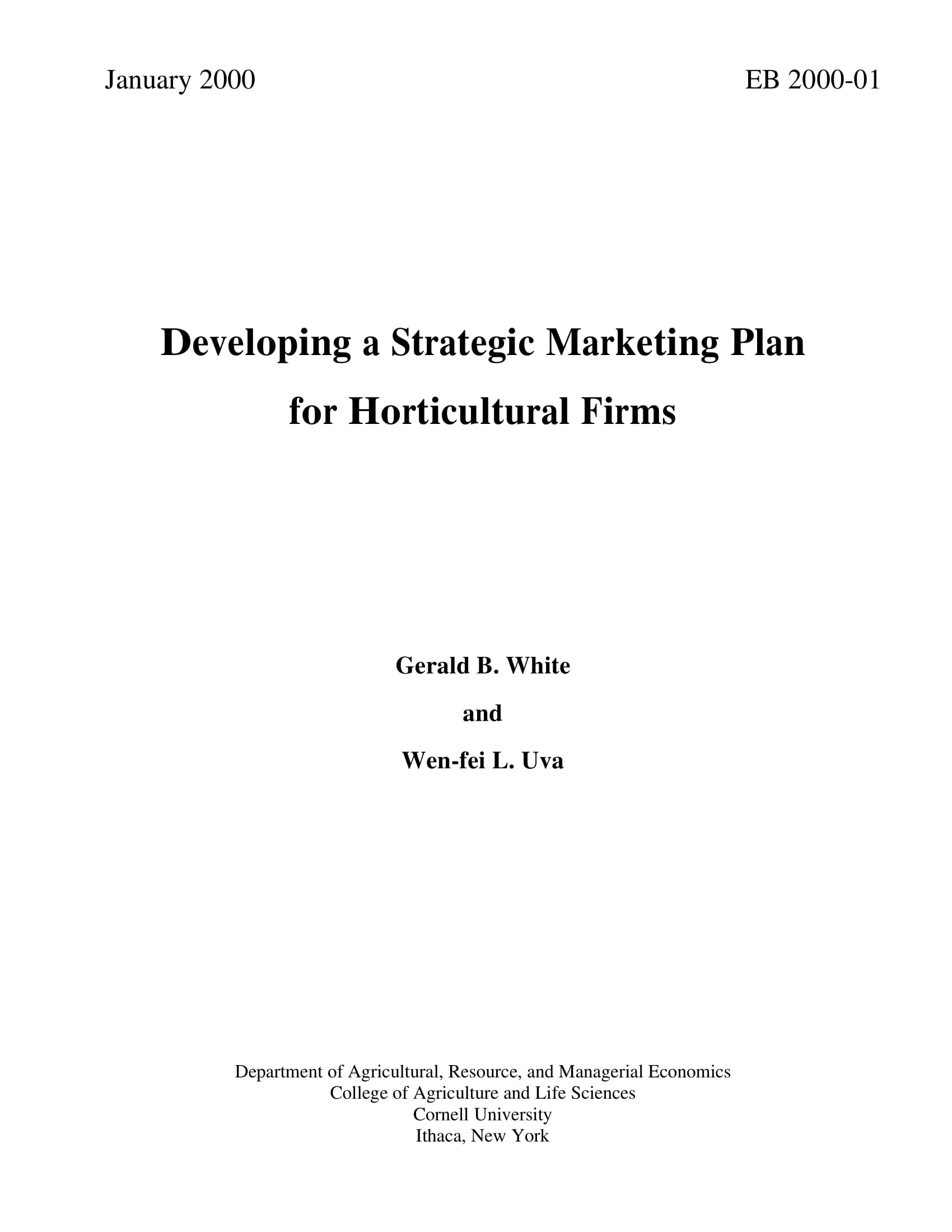 horticultural firm strategic marketing plan example