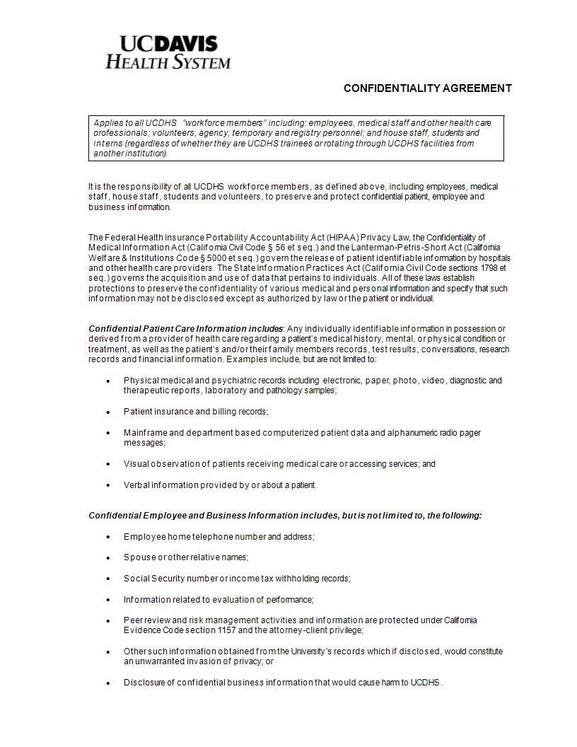 hospital staff confidentiality agreement example
