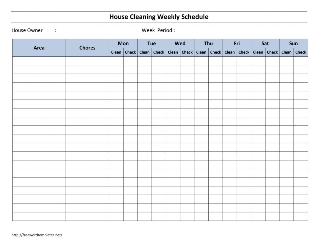 house cleaning weekly schedule
