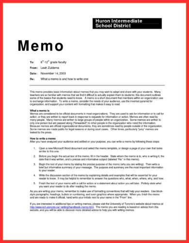 huron intermediate schol district memo writing
