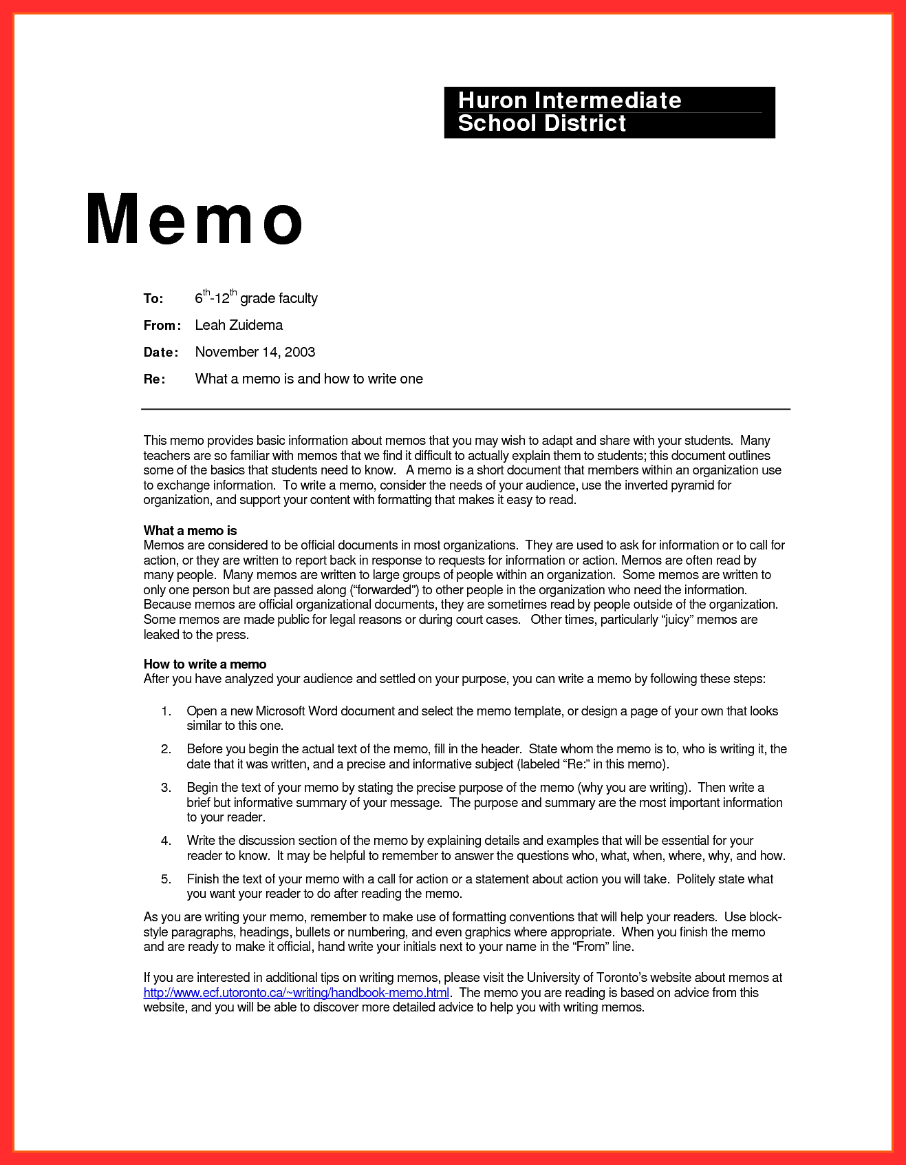 huron intermediate schol district memo writing examples