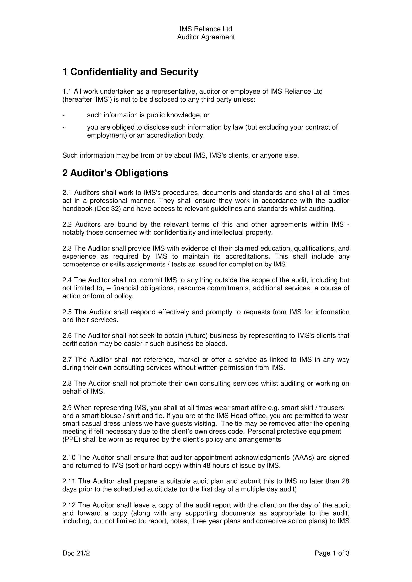 ims reliance audit confidentiality agreement example