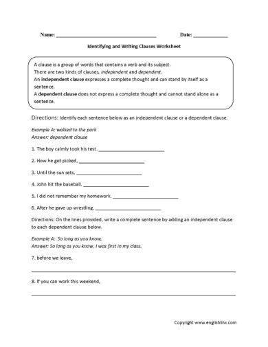 identifying and writing clauses worksheet example1