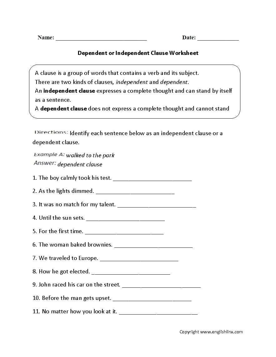 independent clause worksheet example