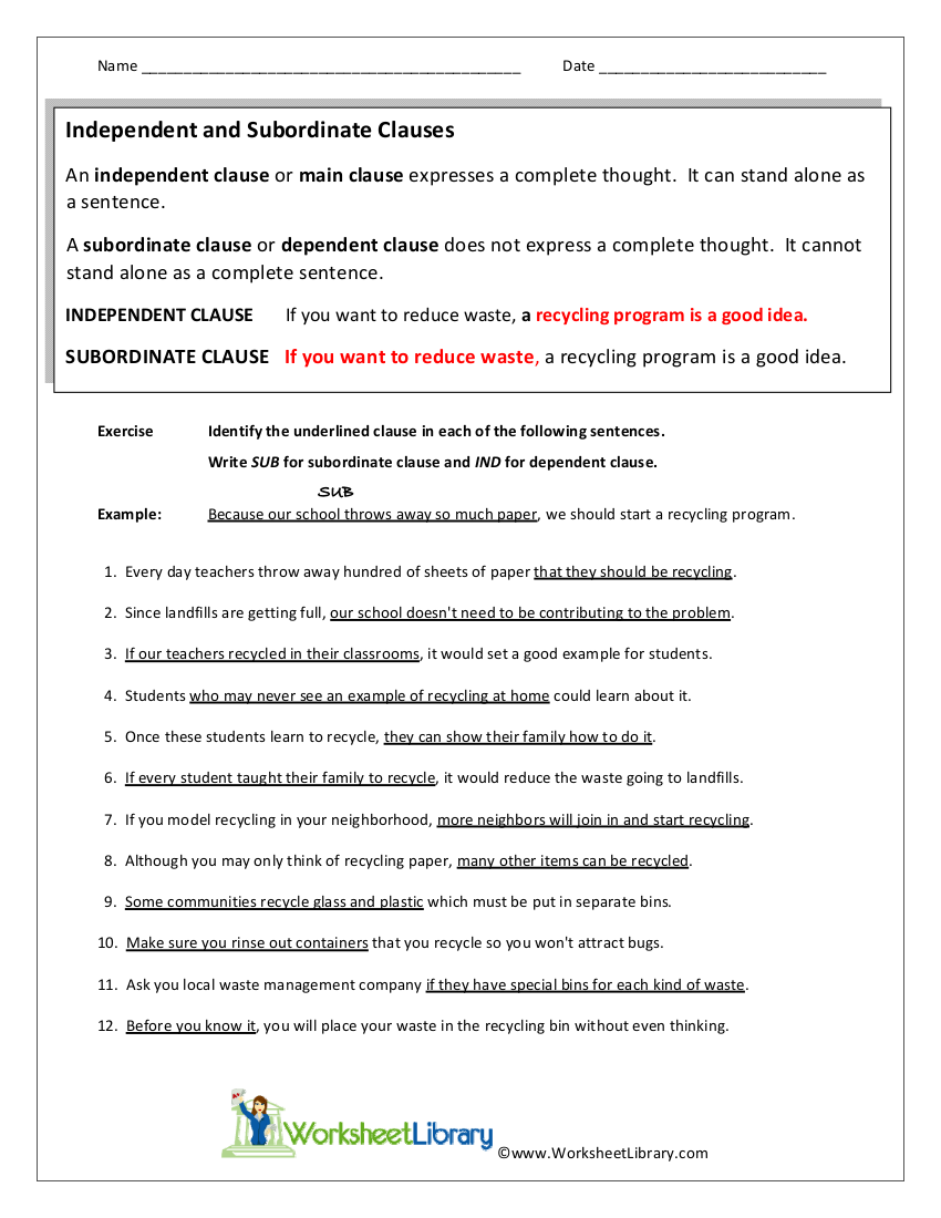 independent and subordinate clauses worksheet
