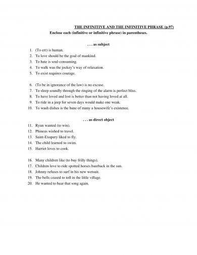 Infinitive Phrases Worksheet - Rcnschool