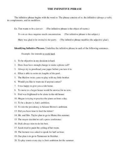 infinitive phrase handout and example1