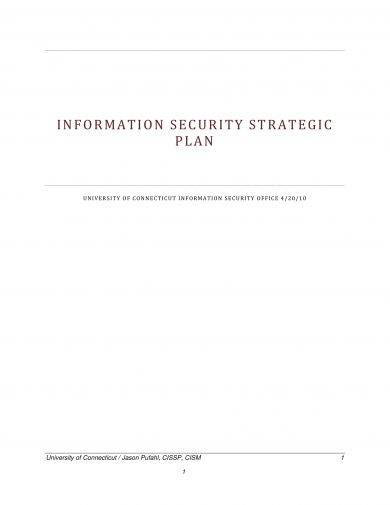 information security strategic plan example