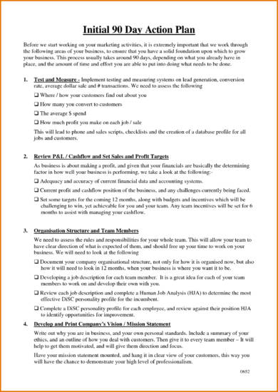 initial 90 day action plan