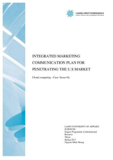 integrated marketing communication plan for penetrating the u