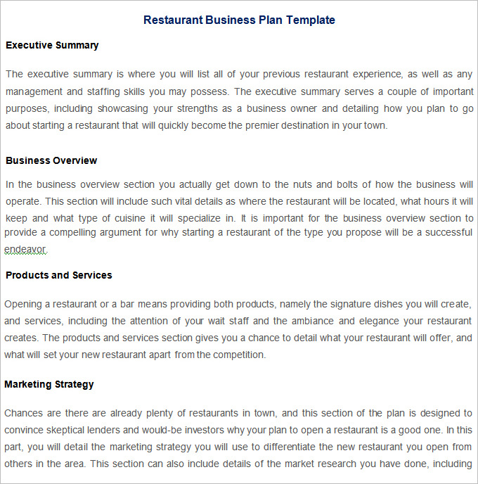 intro for restaurant strategic plan example