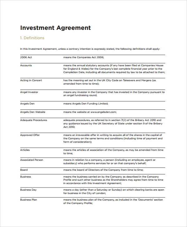 investor agreement terms definiton example