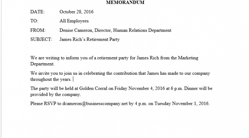 james richs retirement party memo example