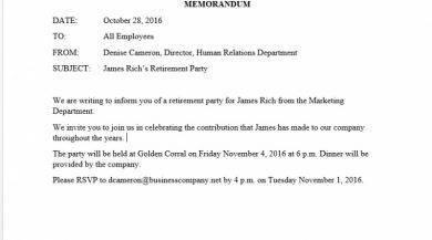 james richs retirement party memo example1