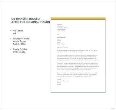 job transfer request letter for personal reason format1