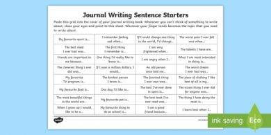 journal writing sentence starter