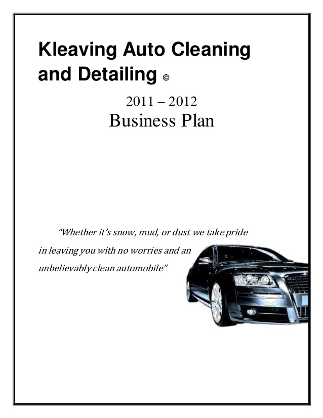 kleaving auto cleaning and detailing business plan