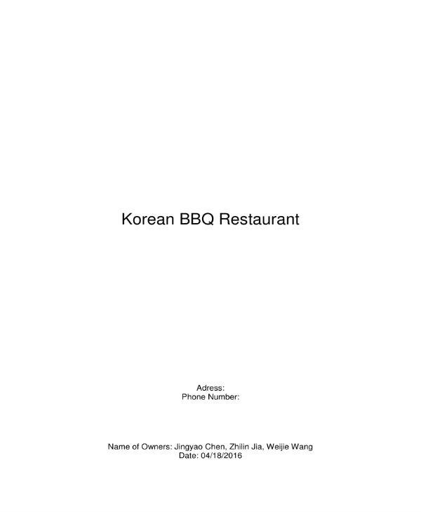 korean bbq business plan