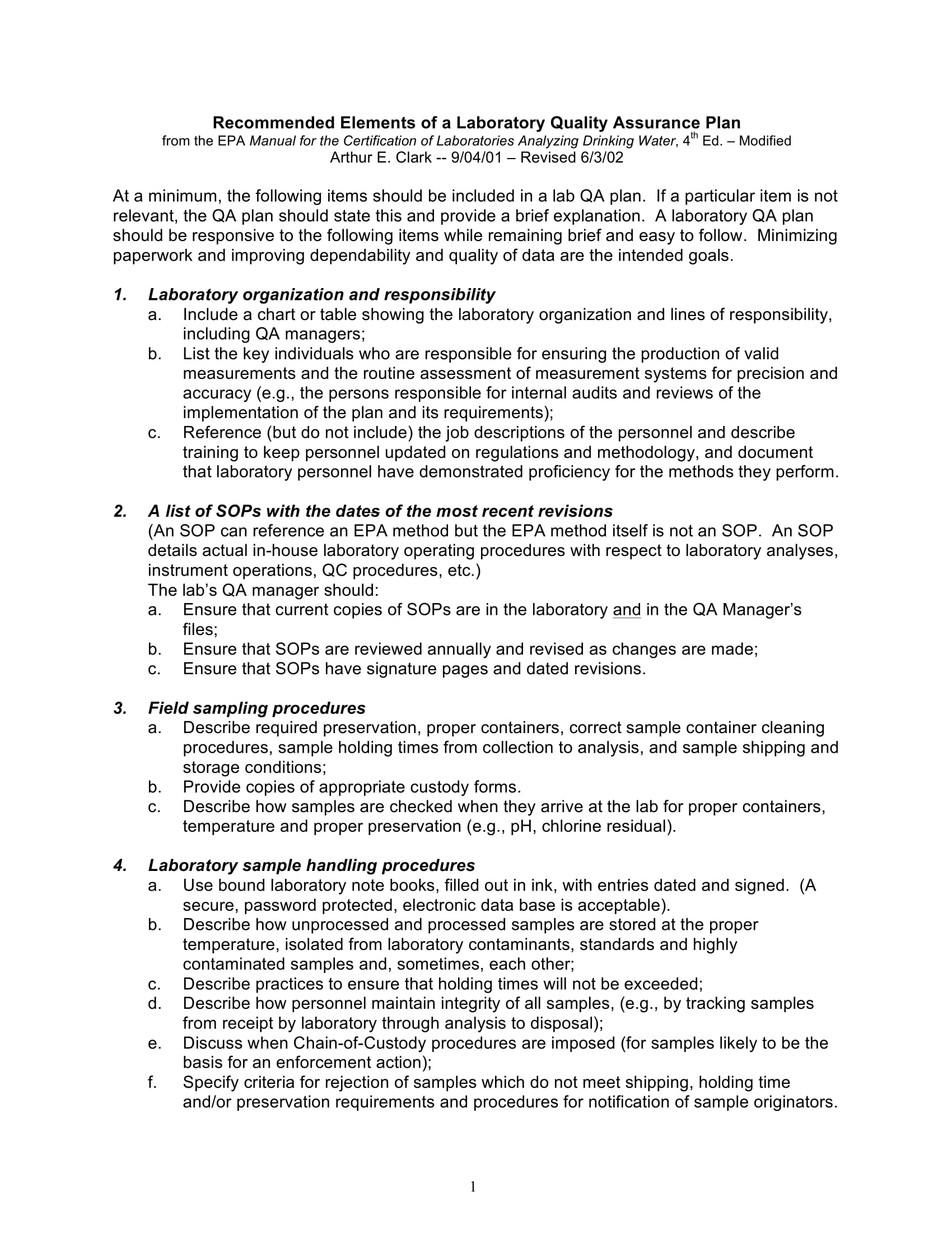 laboratory quality assurance plan elements example 1