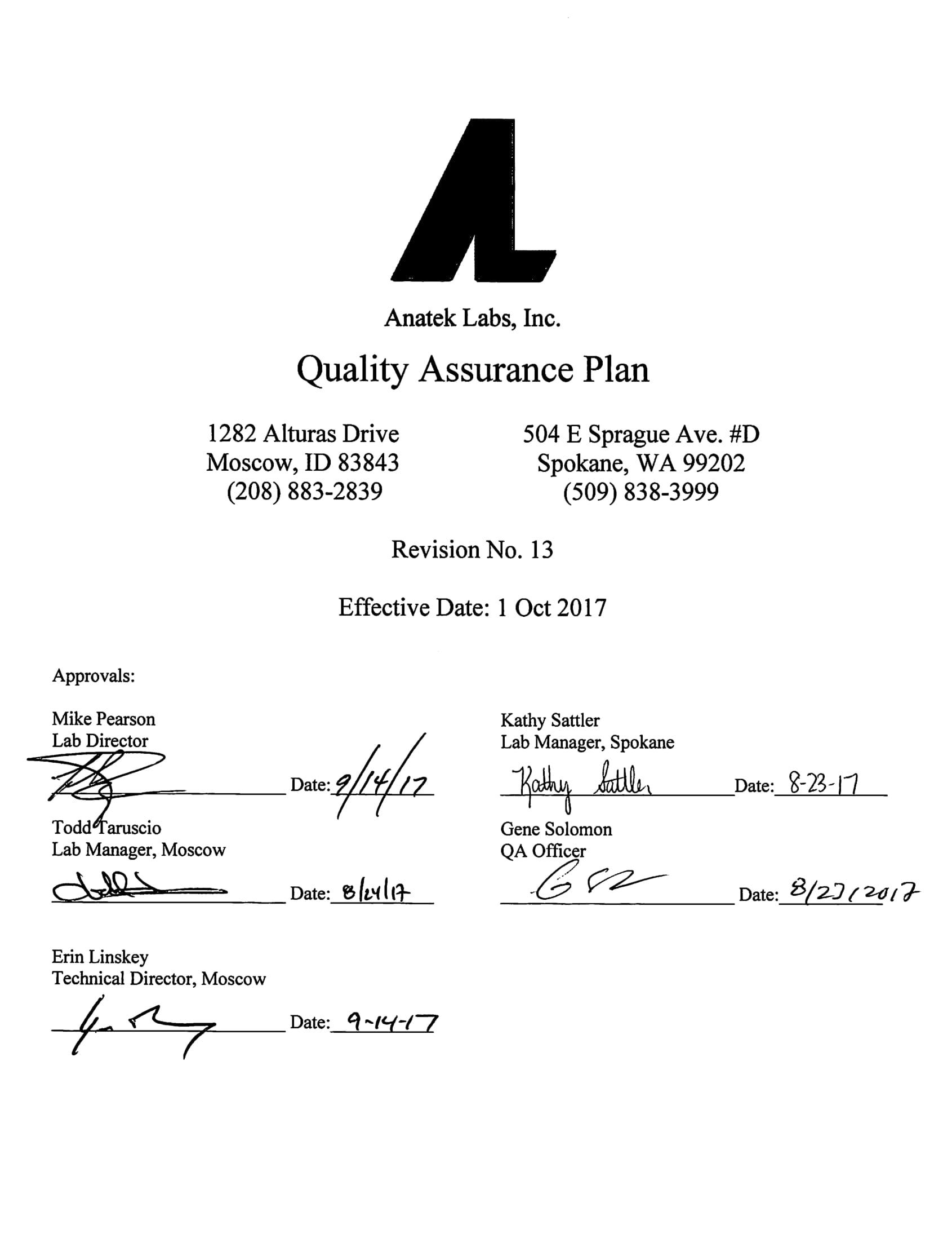 laboratory quality assurance plan example 01