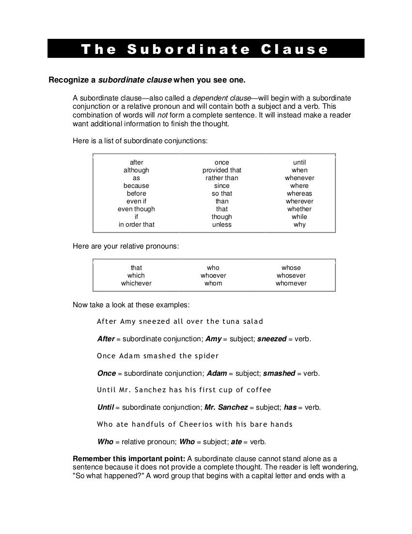 6 Subordinate Clause Examples In Pdf