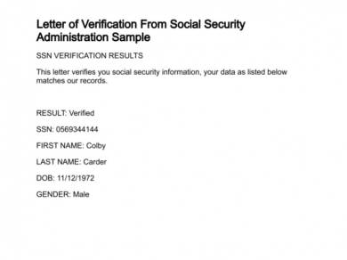 letter of verification from social security administration