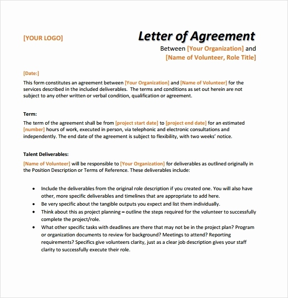 letter of agreement for restaurant example