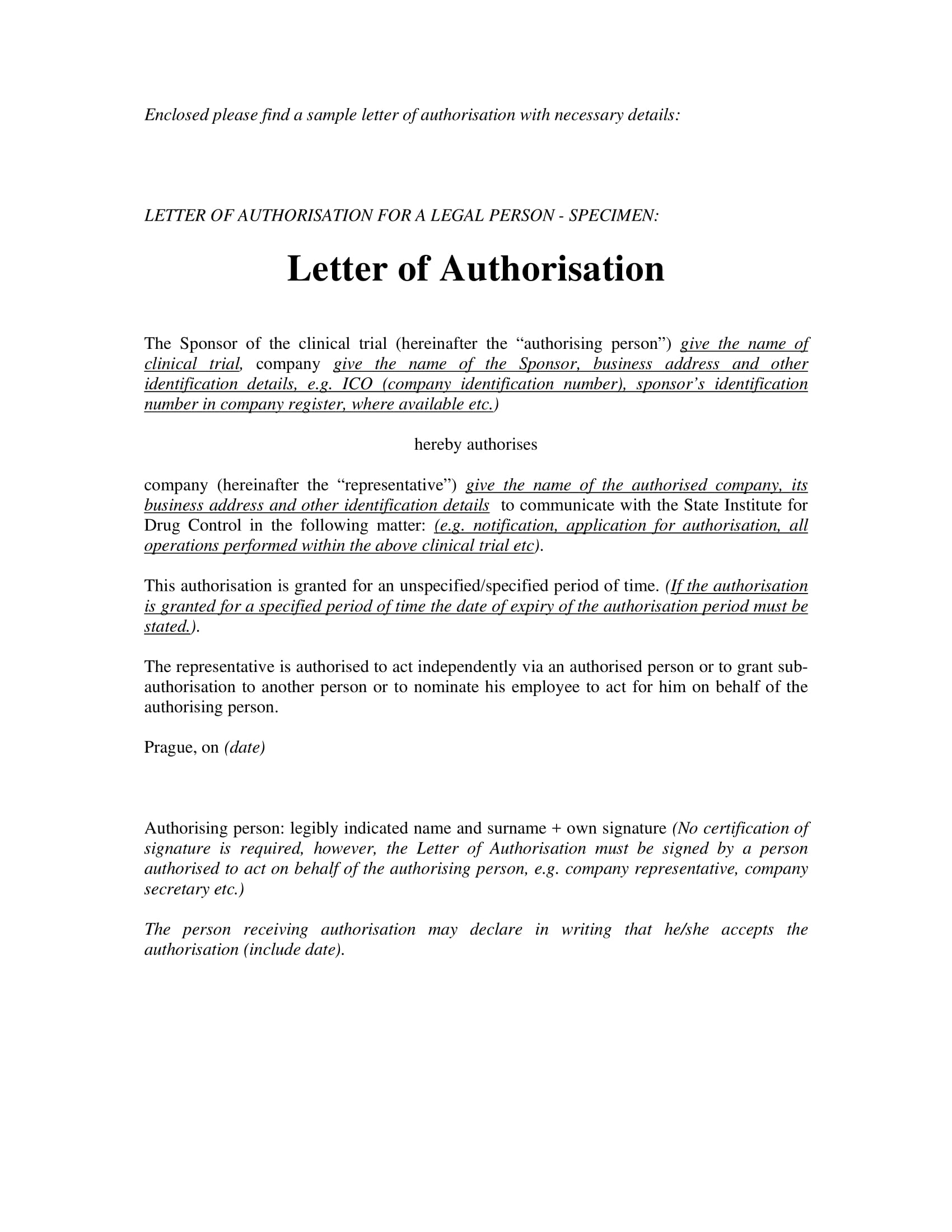 11 authorization letter to act on behalf examples pdf letter of authorization for a legal person example flashek Images