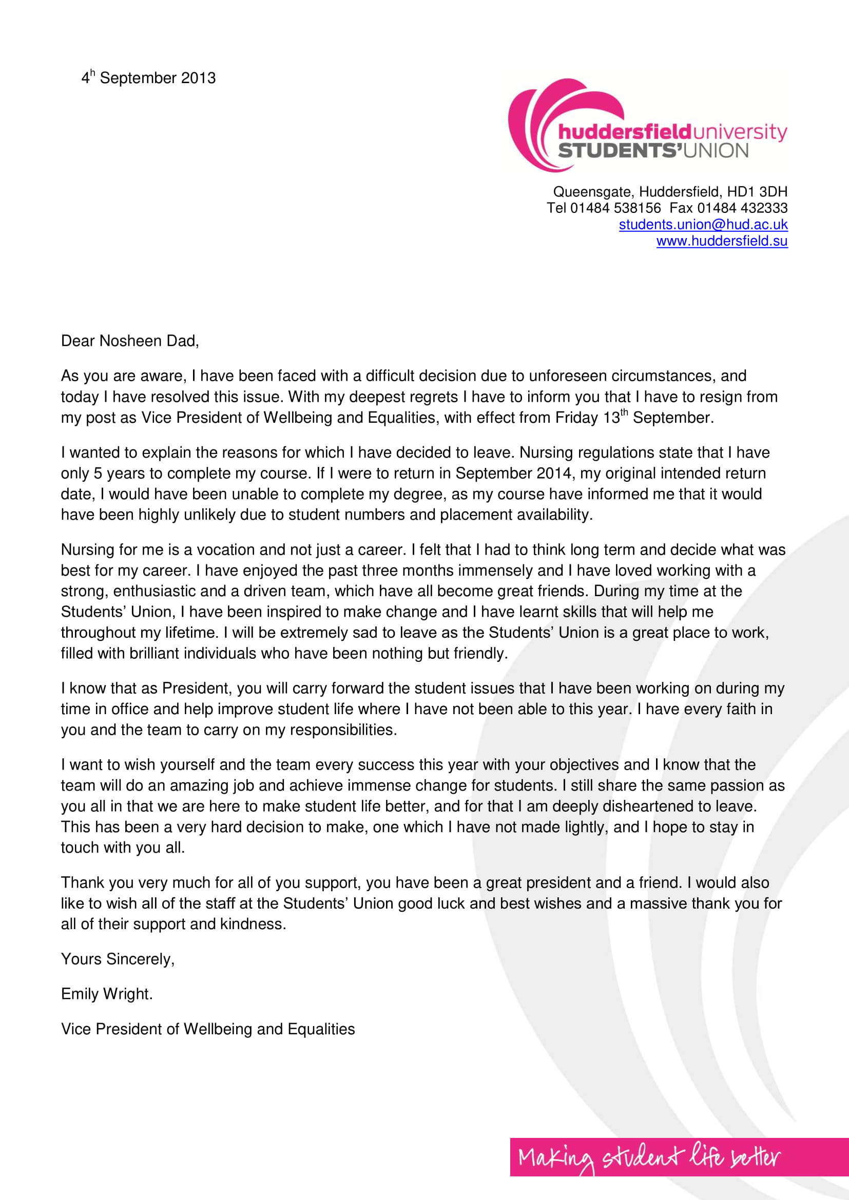 letter of resignation due to education example