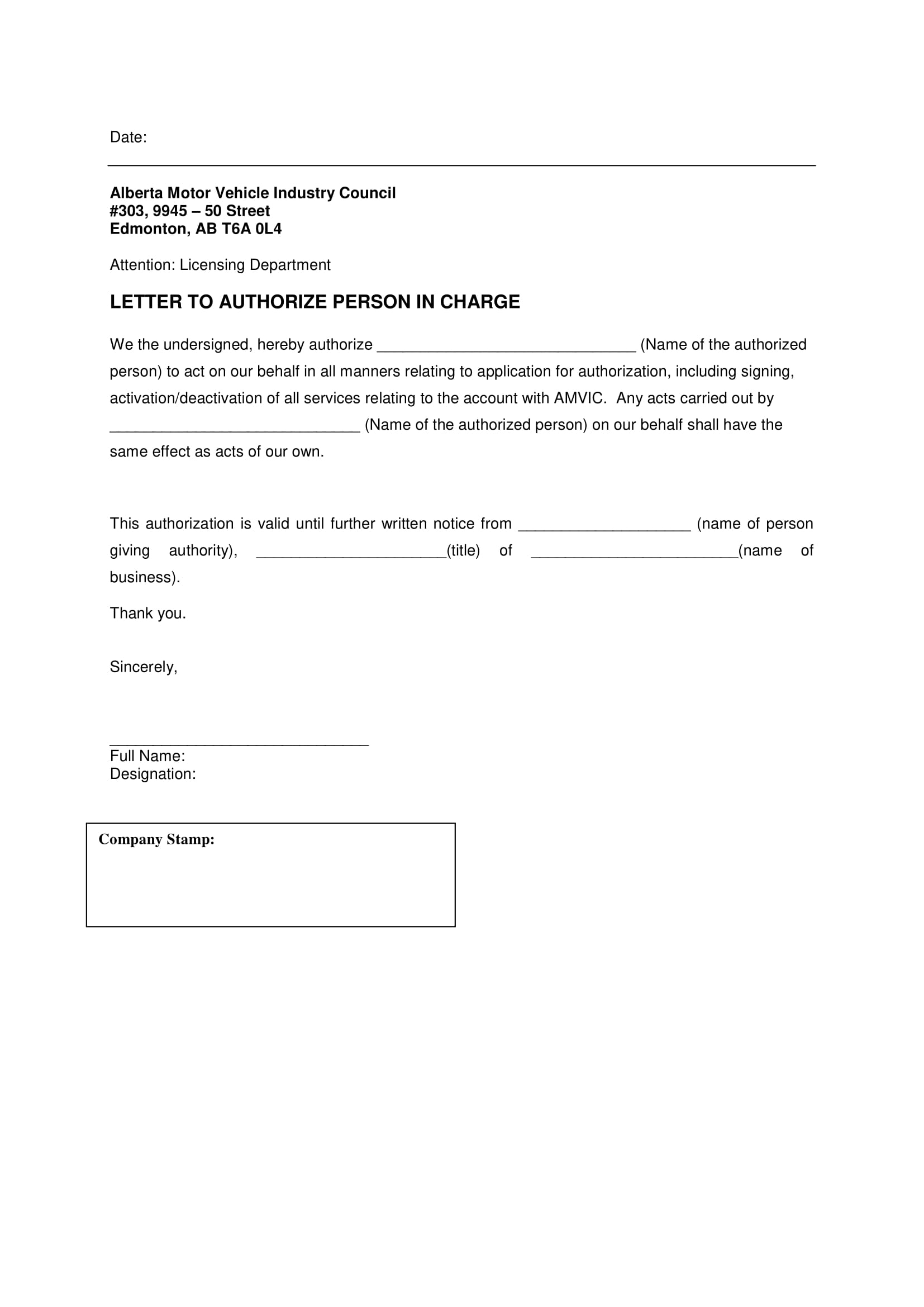 letter to authorizate person in charge to act on behalf example 1