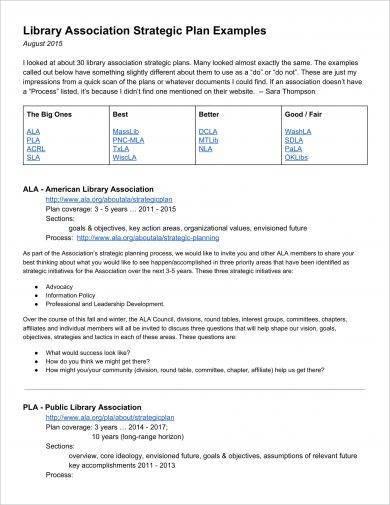 library association strategic plan example