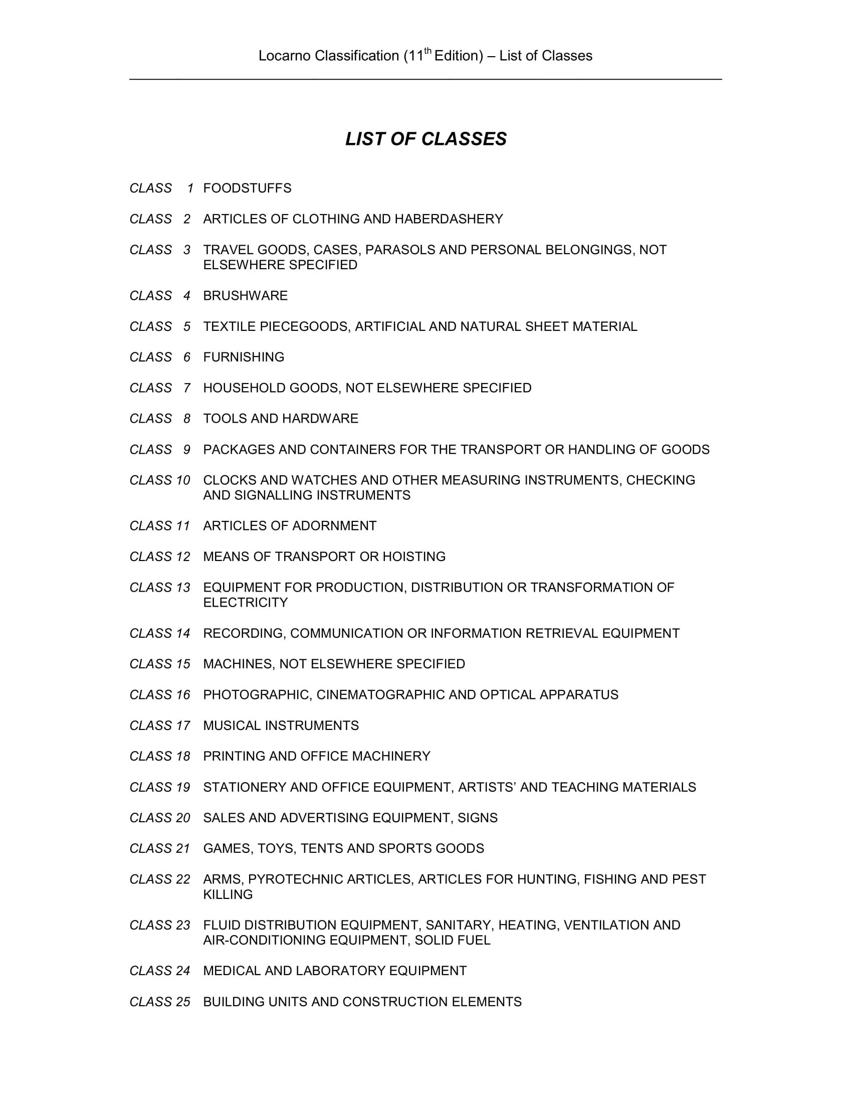 list of classes example