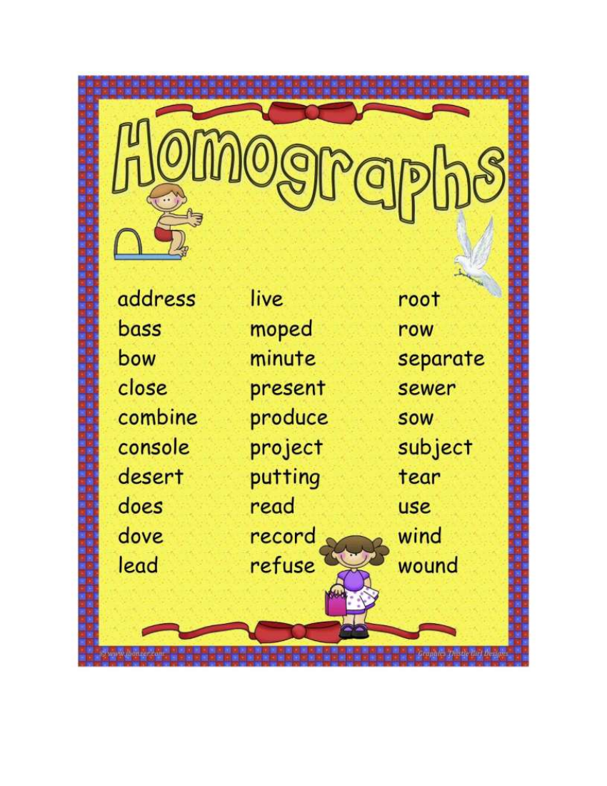 list of homograph word example