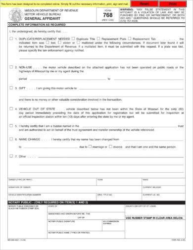 mdr gift affidavit example