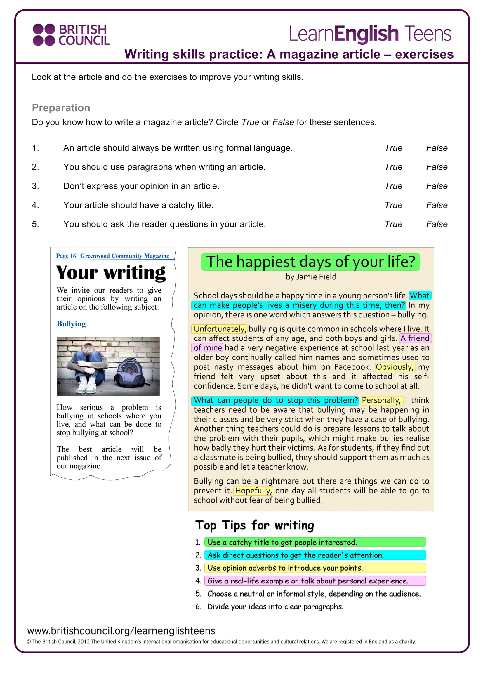9 article writing examples for students pdf doc