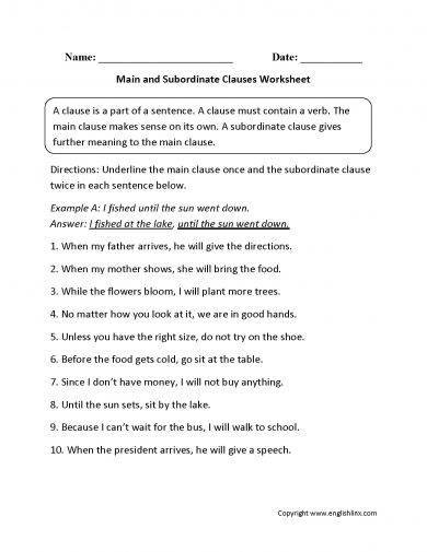 main and subordinate clauses worksheet example1