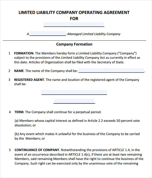 managed llc operating agreement example