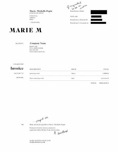 marie m freelance invoice example
