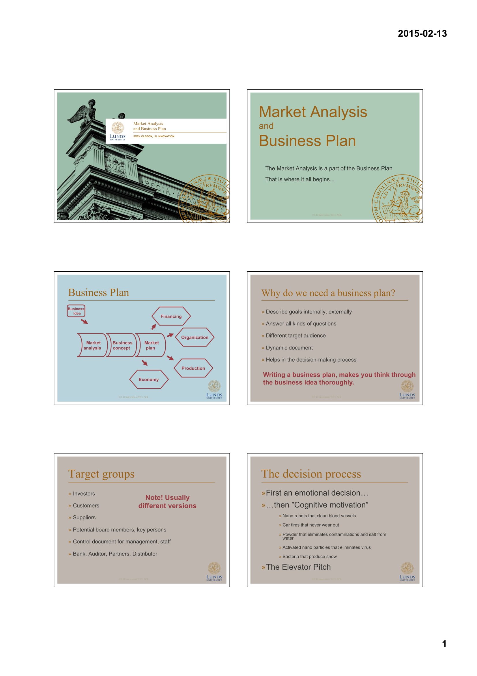 market analysis and business plan example 1