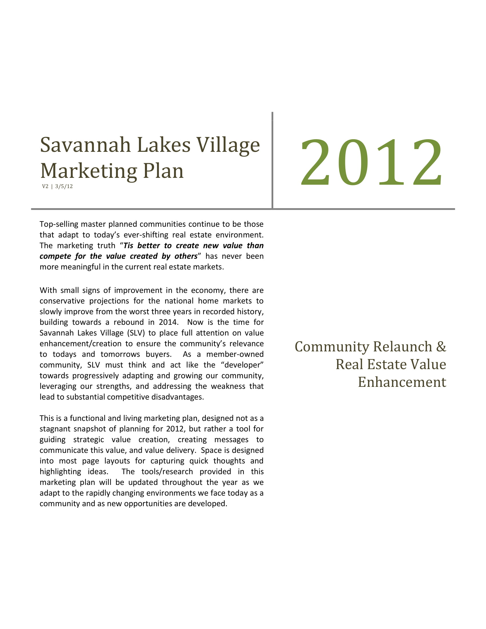 marketing plan for a village example 01