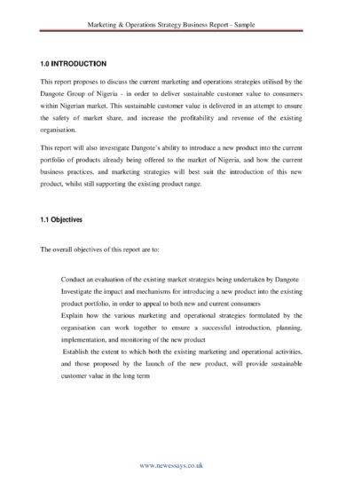 marketing and operations strategy business report